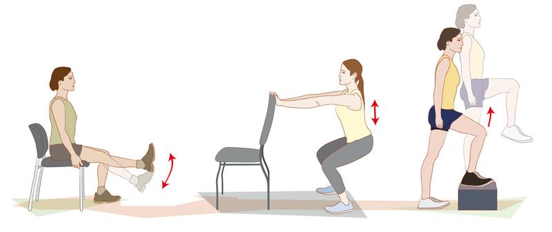 Ejercicios progresivos de fortalecimiento muscular y propiocepción